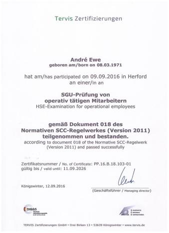 Bauwirtschaft, Führungskraft, Zertifikat